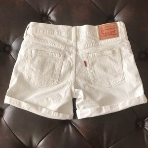 Levi's White Mid Rise Cuffed Denim Midi Shorts